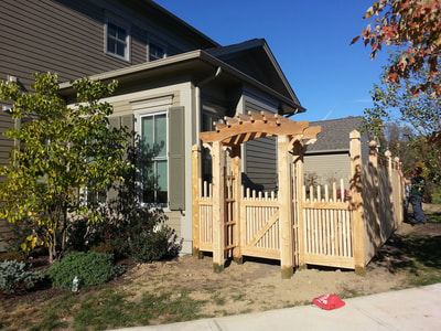 white cedar wood arbor pergola 2x2 style picket fence