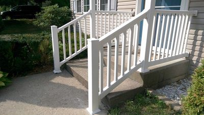 "PVC Vinyl handrailing railing white 4x4 post flat post cap 36"" high 36 inches high railing"