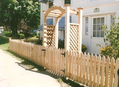 abor white cedar wood trellis lattice sides arch spaced picket fence